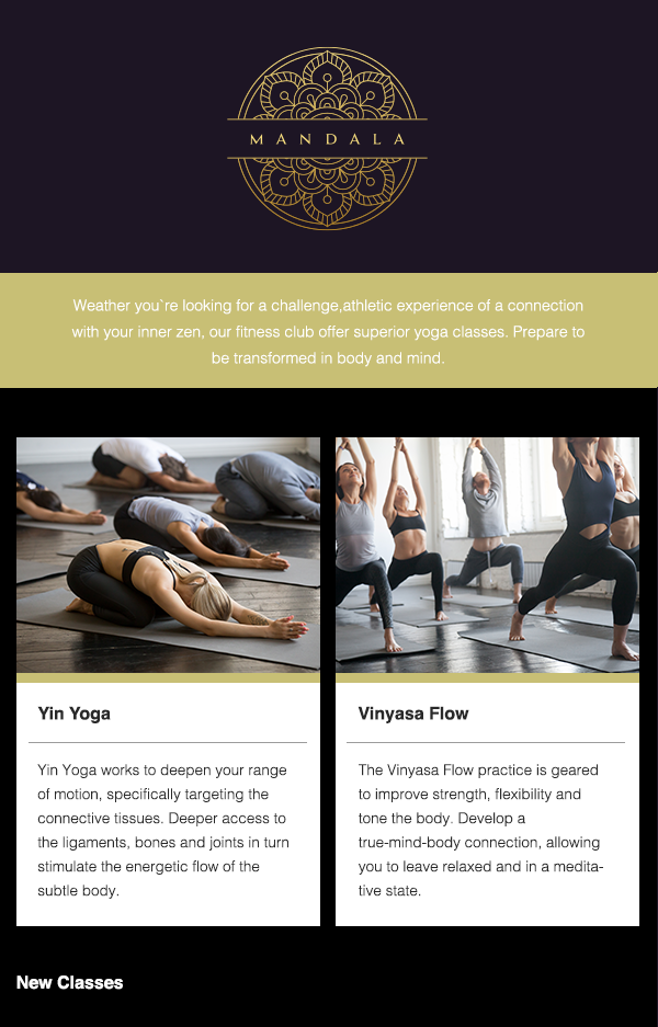 Readymade template for yoga classes - preview