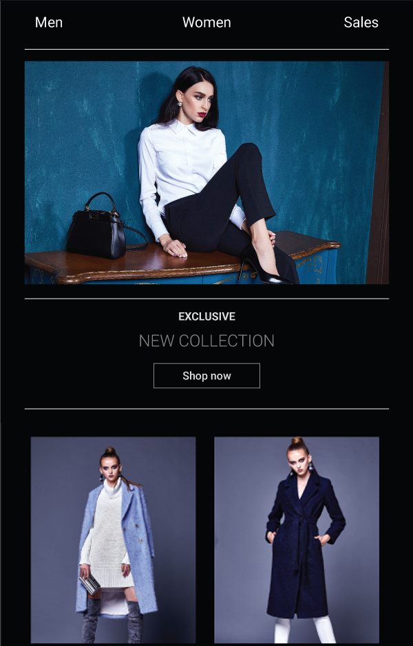 Clothing store email template and sms landing page - drag and drop editor - preview