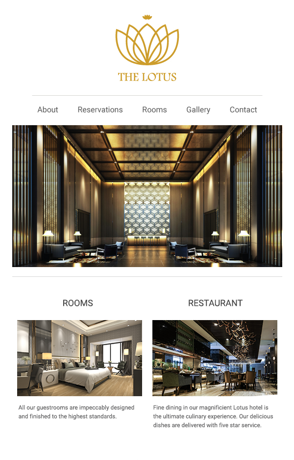 Readymade email template and sms landing page for hotel industry - preview
