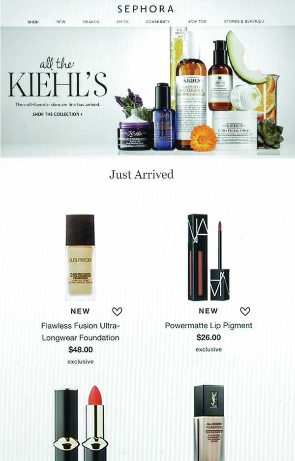 Cosmetic store online email template and sms landing page - preview