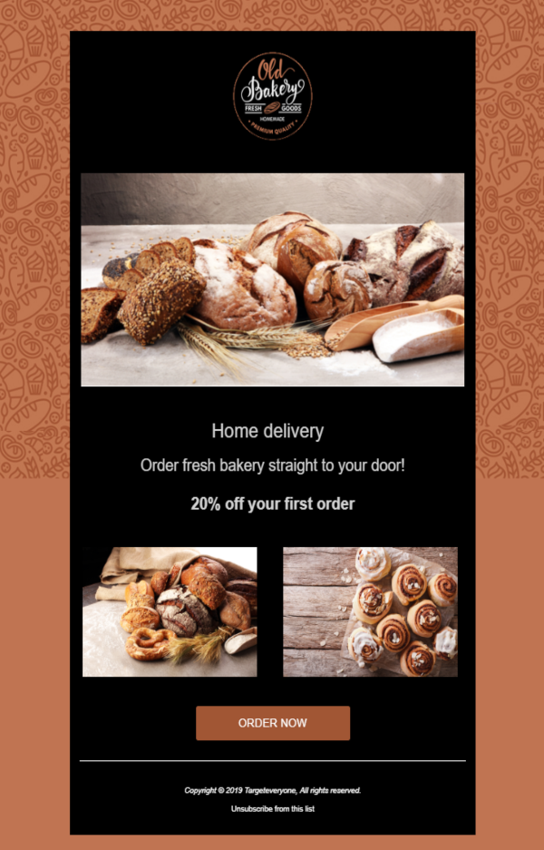 bakery email template