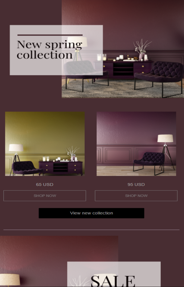 Furniture email template